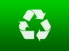 A recycle symbol on a green background.