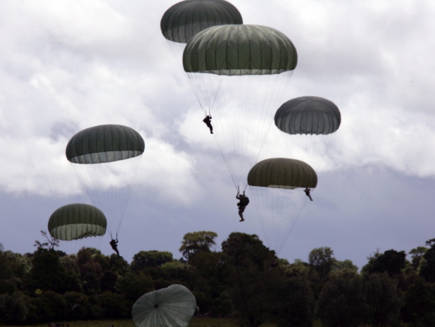 D Day Anniversary Paratroopers French British German And American Parachuting Over France In Honor Of The 65th