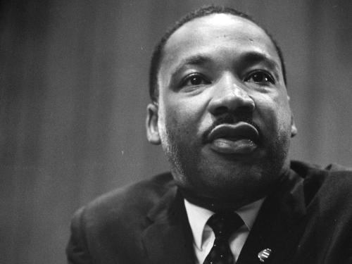 Civil rights activist Martin Luther King, Jr. as photographed by Marion Trikosko in a 1964 press conference.