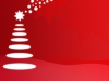 A white abstract Christmas tree on a red background.
