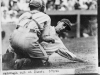 Baseball player Roger Peckinpaugh is tagged out at home plate in 1924.
