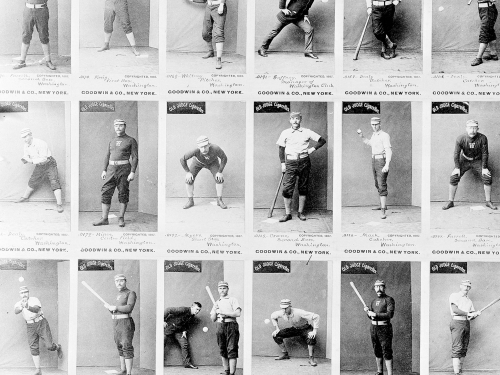Uncut baseball cards by Goodwin and Company from 1887.